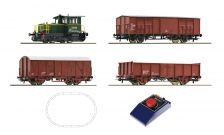 Start set dieselová lokomotíva D.214 s nákladnými vozmi FS IV. V.epocha Roco 51158 H0 1:87