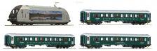 H0 - set el. lokomotiva EL 18 + 3 osobní vozy, NSB