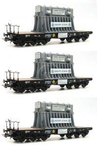 VÝPREDAJ - H0 - set 3 ťažkotonážnych plošinových vozňov, DB