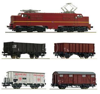 H0 - Roco 61460 Elektrická lokomotíva 1224 s nákladným vlakom, NS